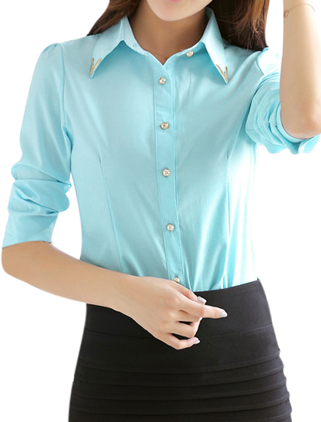 Woman Metal Decor Collared Long Sleeves Slim Fit Shirt Light Blue M