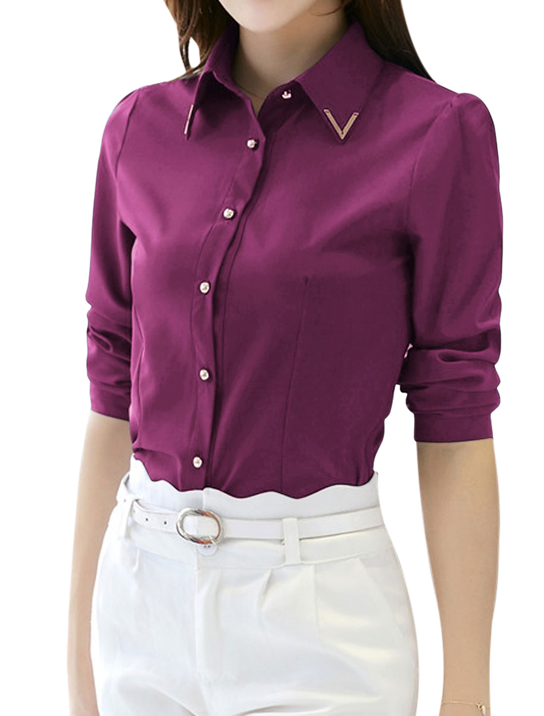 Woman Metal Decor Collared Long Sleeves Slim Fit Shirt Purple M