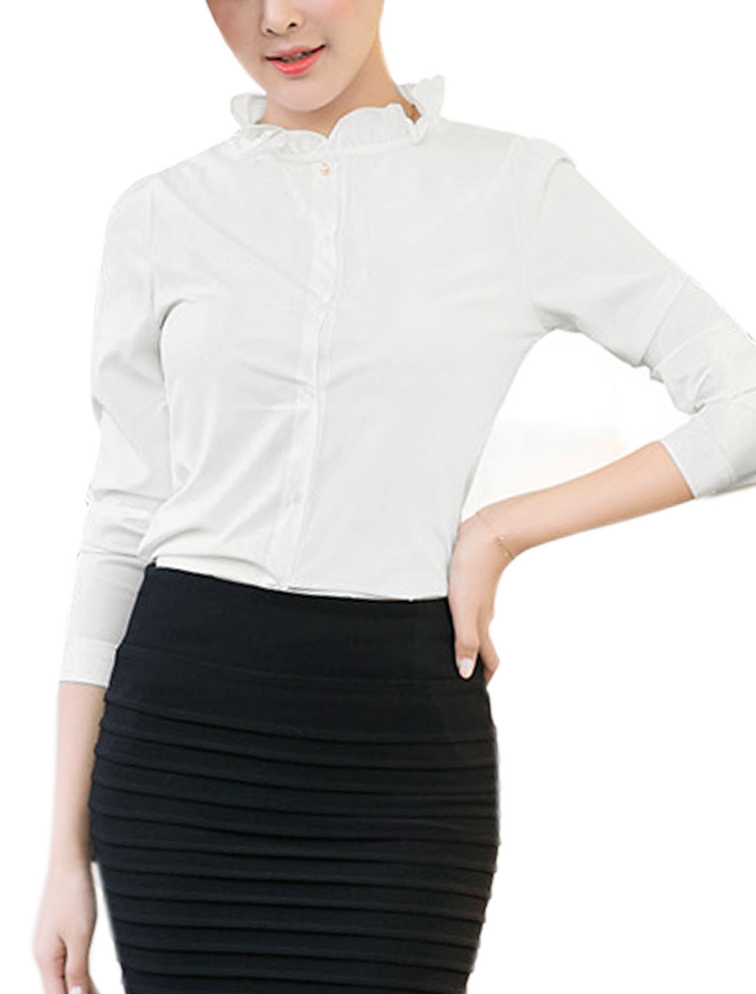 Ladies Ruffled Collar Slim Fit Buttoned Shirt White M