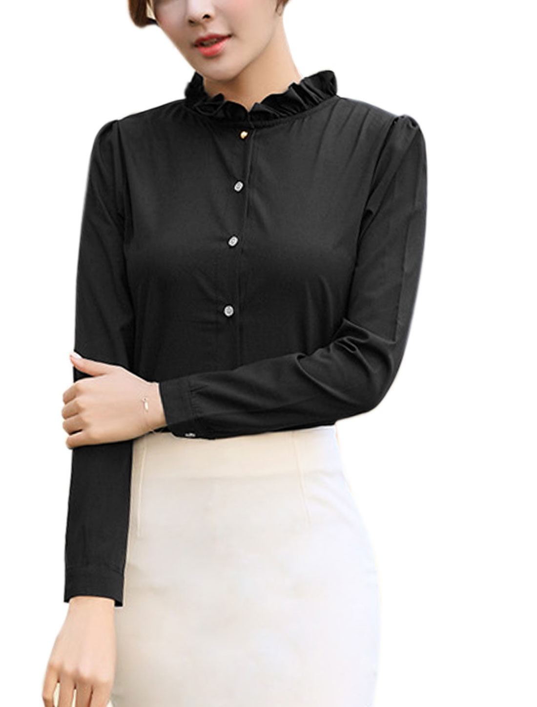 Ladies Ruffled Collar Slim Fit Buttoned Shirt Black M