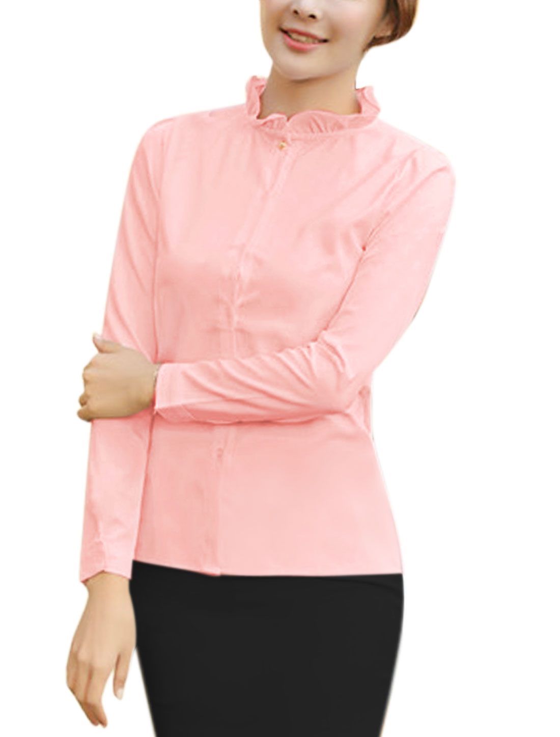 Ladies Ruffled Collar Slim Fit Buttoned Shirt Pink M