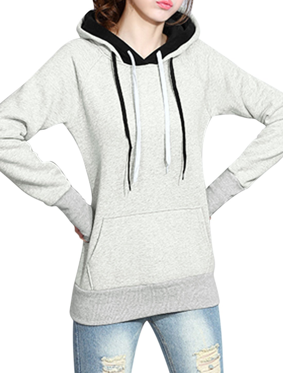 Ladies Kangaroo Pocket Double Layer Hooded Sweatshirt Gray XS