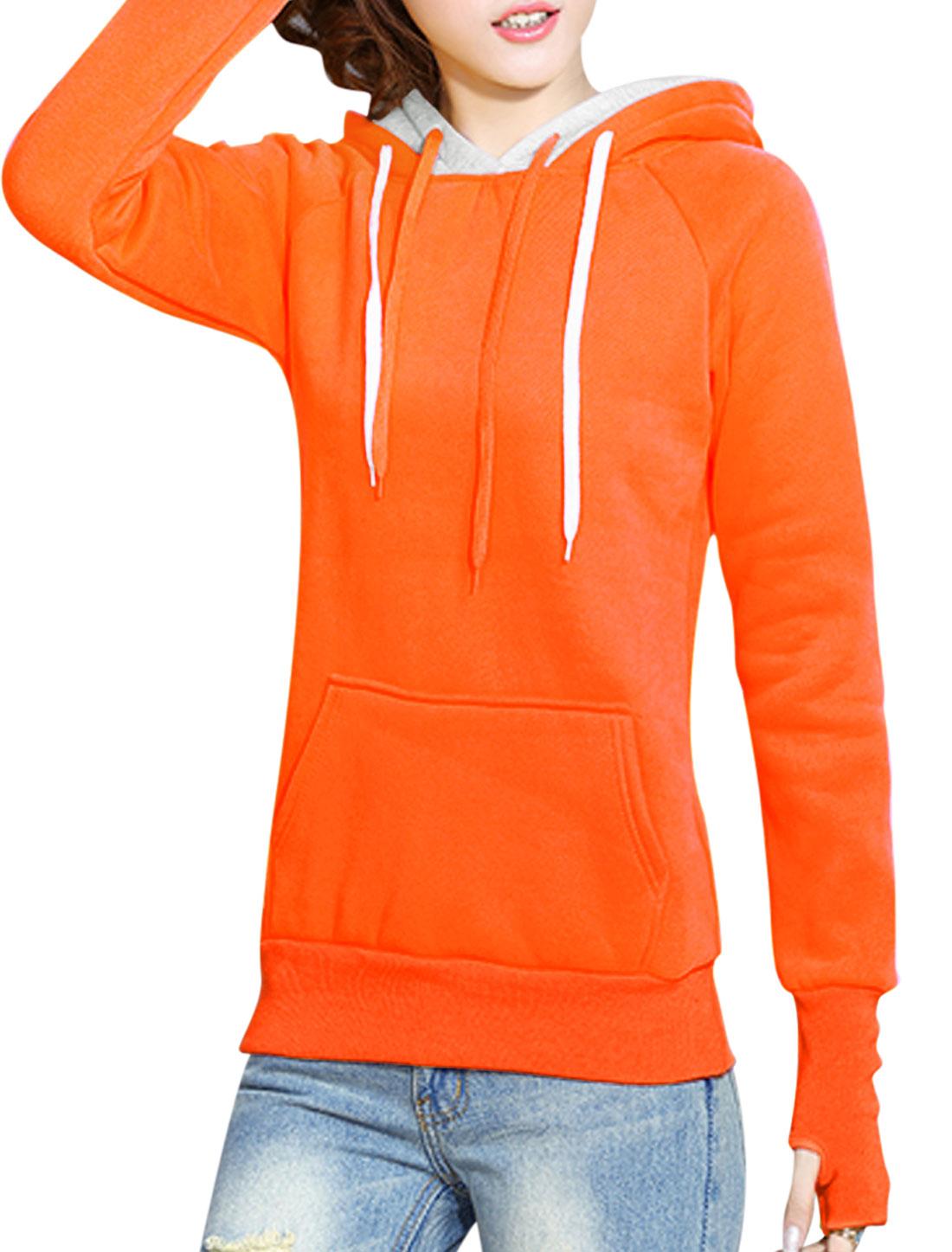 Ladies Kangaroo Pocket Double Layer Hooded Sweatshirt Orange XS