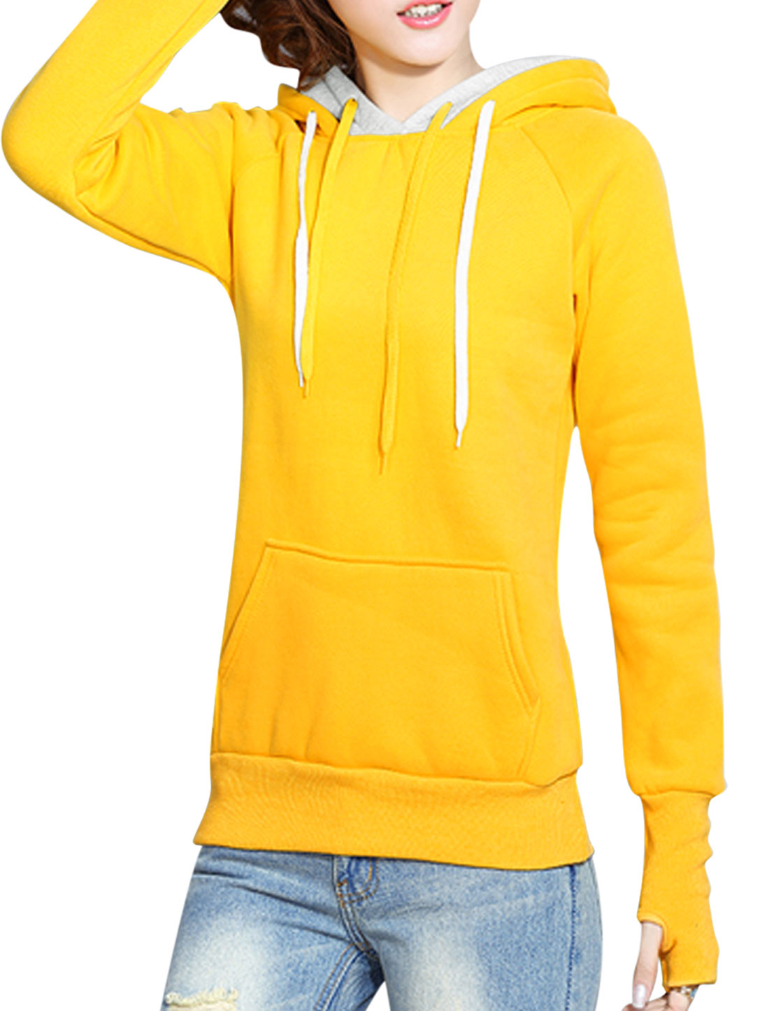 Ladies Kangaroo Pocket Double Layer Hooded Sweatshirt Yellow XS