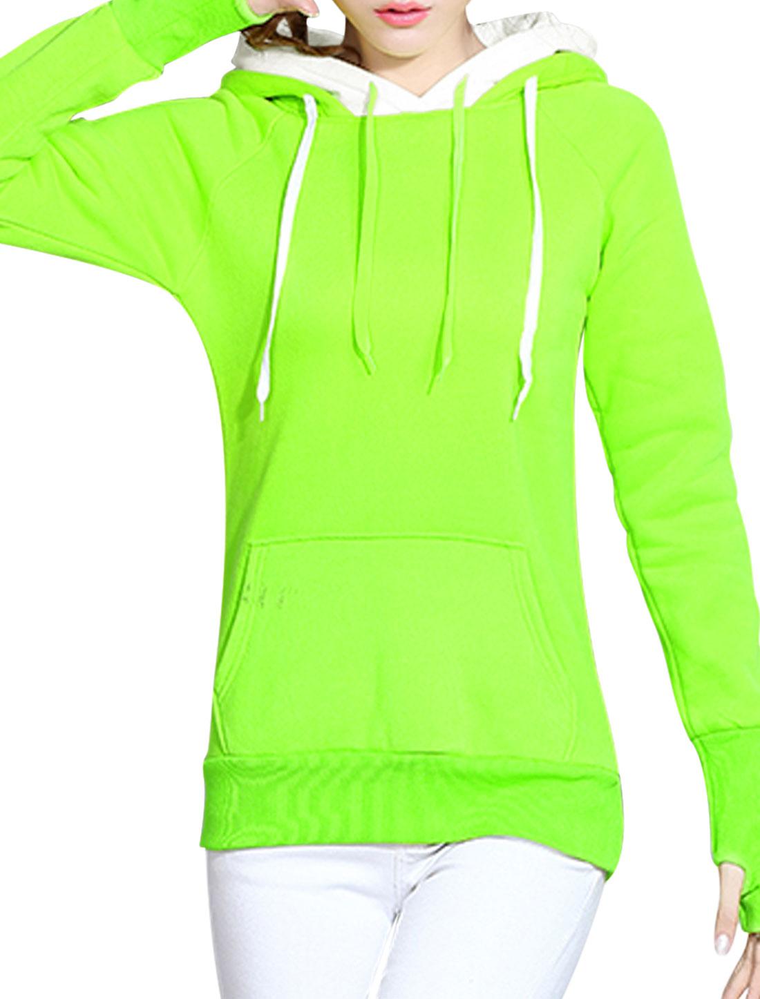 Ladies Double Layer Hooded Sweatshirt Fluorescent Green XS