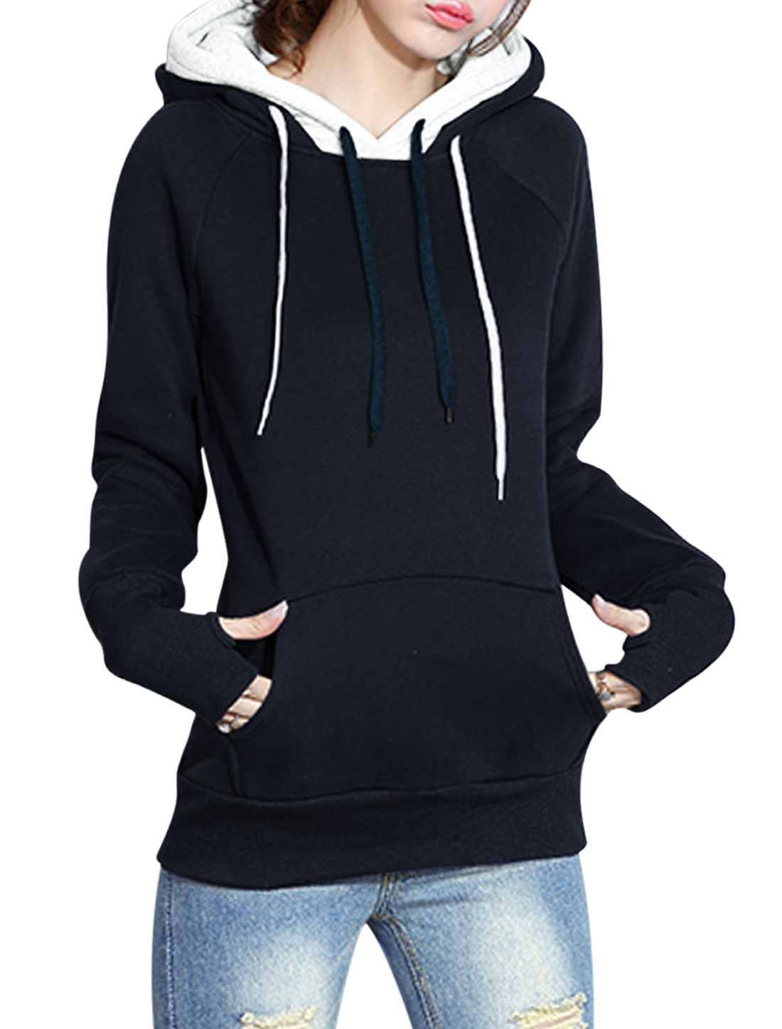 Ladies Kangaroo Pocket Double Layer Hooded Sweatshirt Blue XS