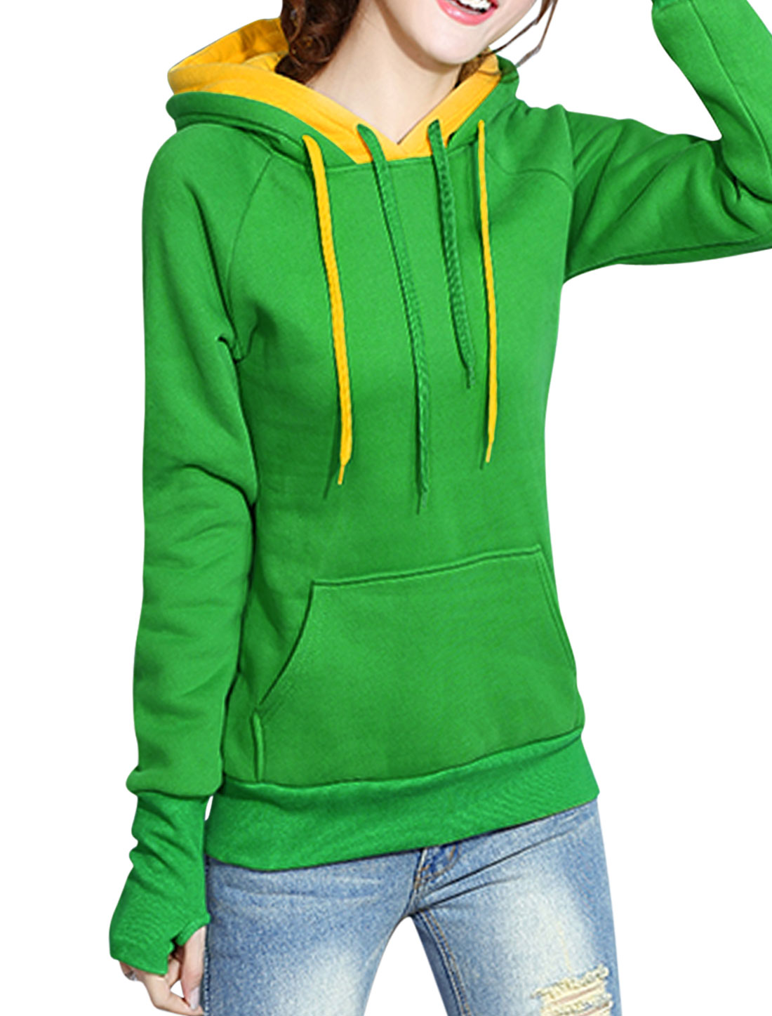 Ladies Double Layer Hooded Sweatshirt Dark Green XS