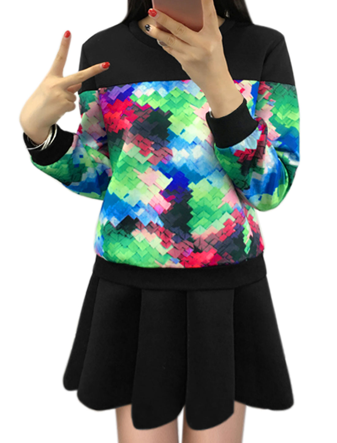Lady Geometric Sweatshirt w Flare Skirt Sets Black M