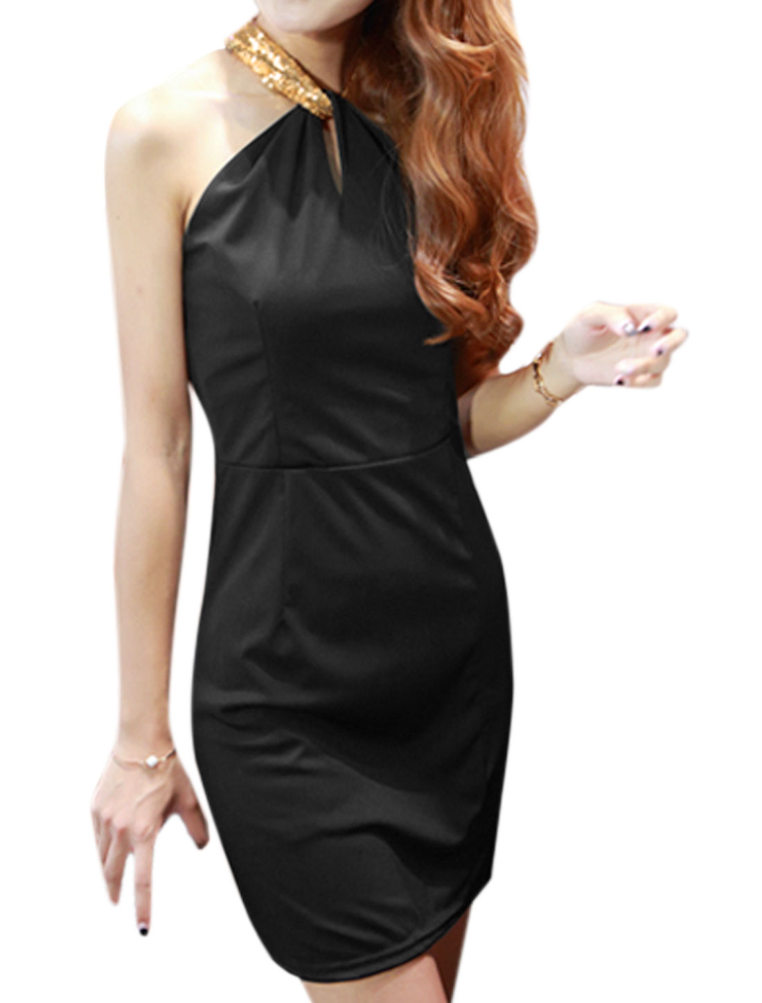 Woman Halter Neck Sequined Cut Out Back Sheath Dress Black M
