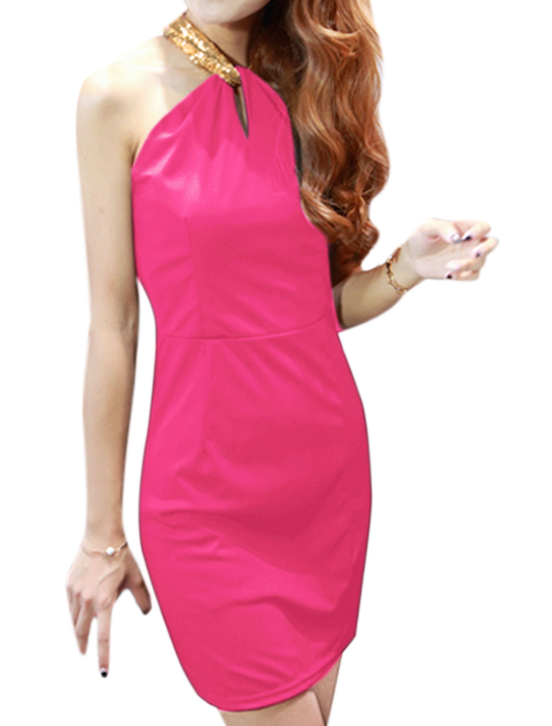 Woman Sequined Halter Neck Cut Out Back Sheath Dress Pink M