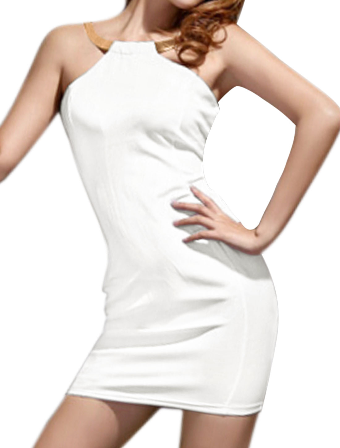 Women Metal Decor Halter Neck Cut Out Back Bodycon Dress White M
