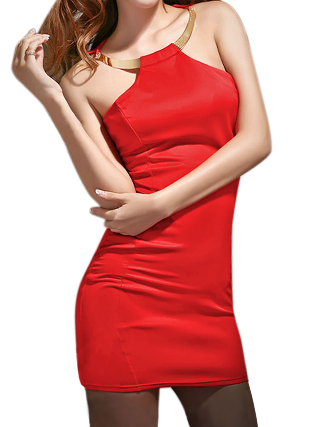 Women Metal Decor Halter Neck Cut Out Back Bodycon Dress Red M