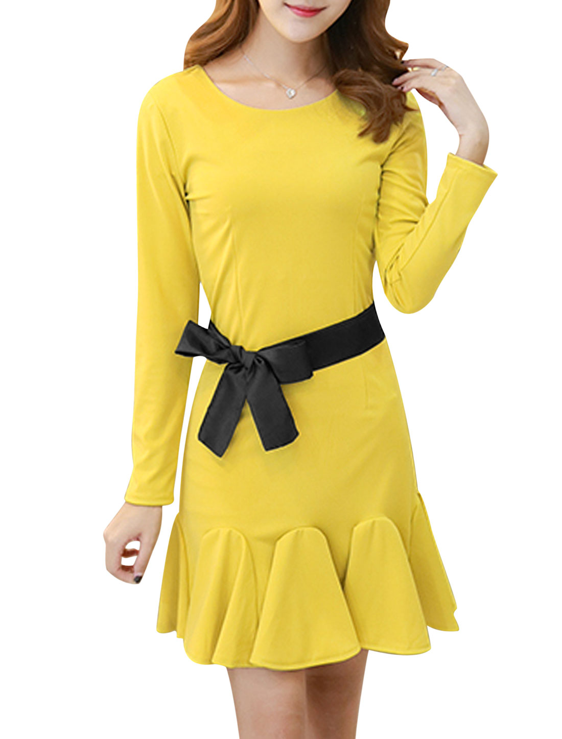 Women Flouncing Hem Sheath Dress w Belt Yellow S