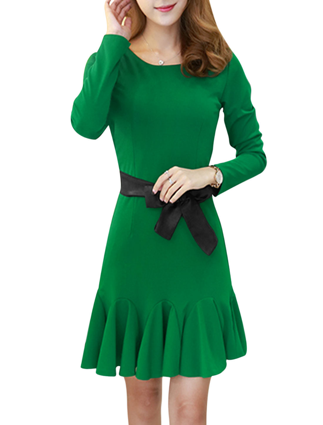 Women Round Neck Flouncing Hem Sheath Dress w Belt Green S