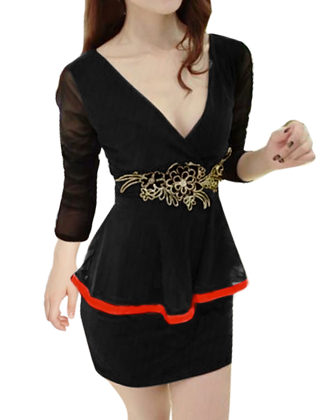 Woman Crossover V Neck Flower Applique Mesh Peplum Dress Black S