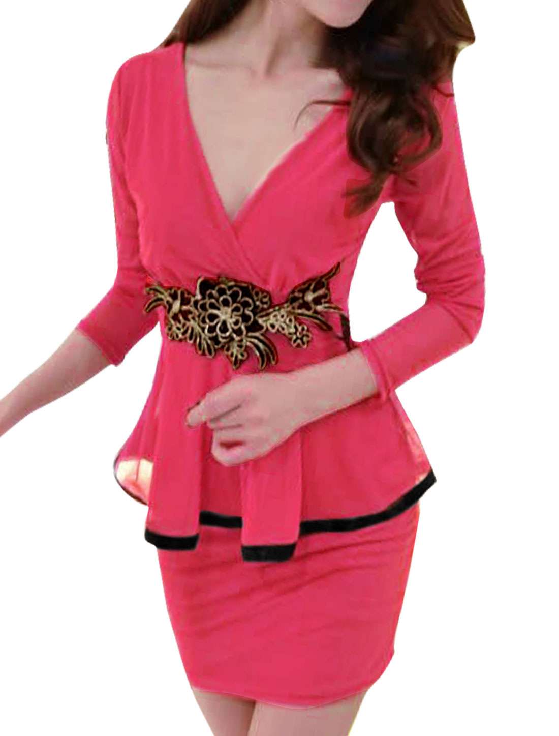Woman Crossover V Neck Flower Applique Mesh Peplum Dress Fuchsia S