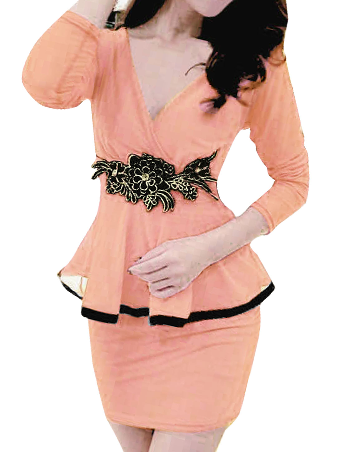 Woman Crossover V Neck Flower Applique Mesh Peplum Dress Pink S