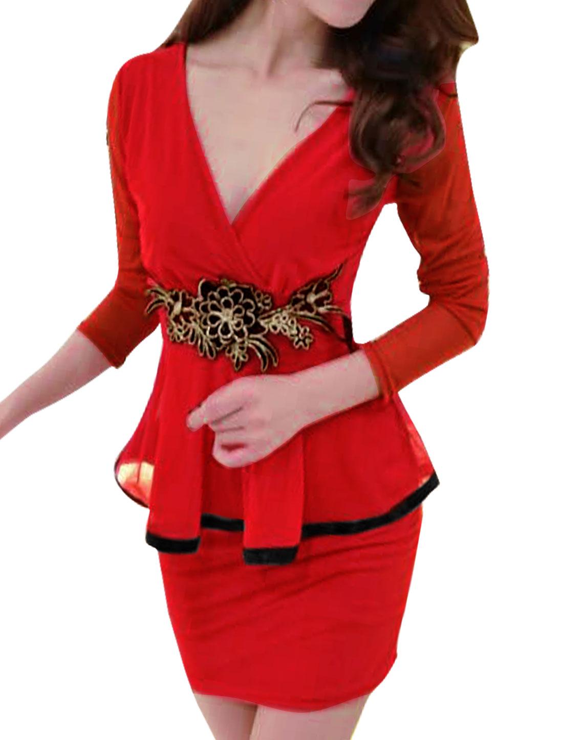 Woman Crossover V Neck Flower Applique Mesh Peplum Dress Red S