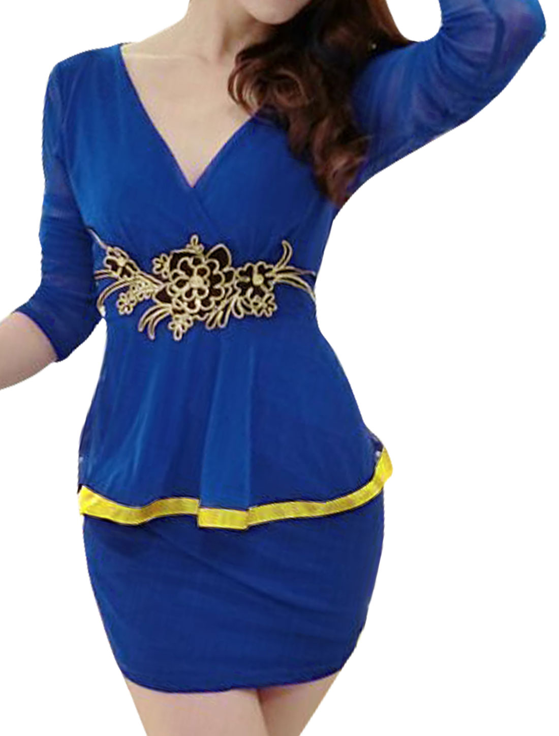 Woman Crossover V Neck Flower Applique Mesh Peplum Dress Blue S