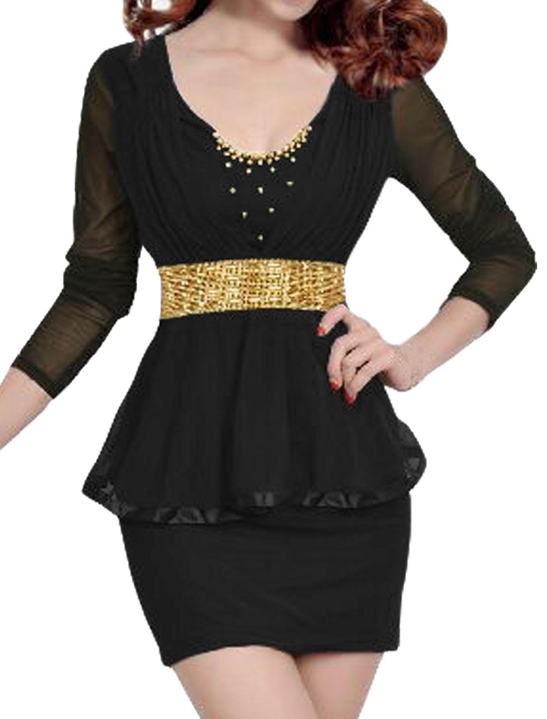 Women Beaded Rhinestone Decor Mesh Peplum Dress Black M