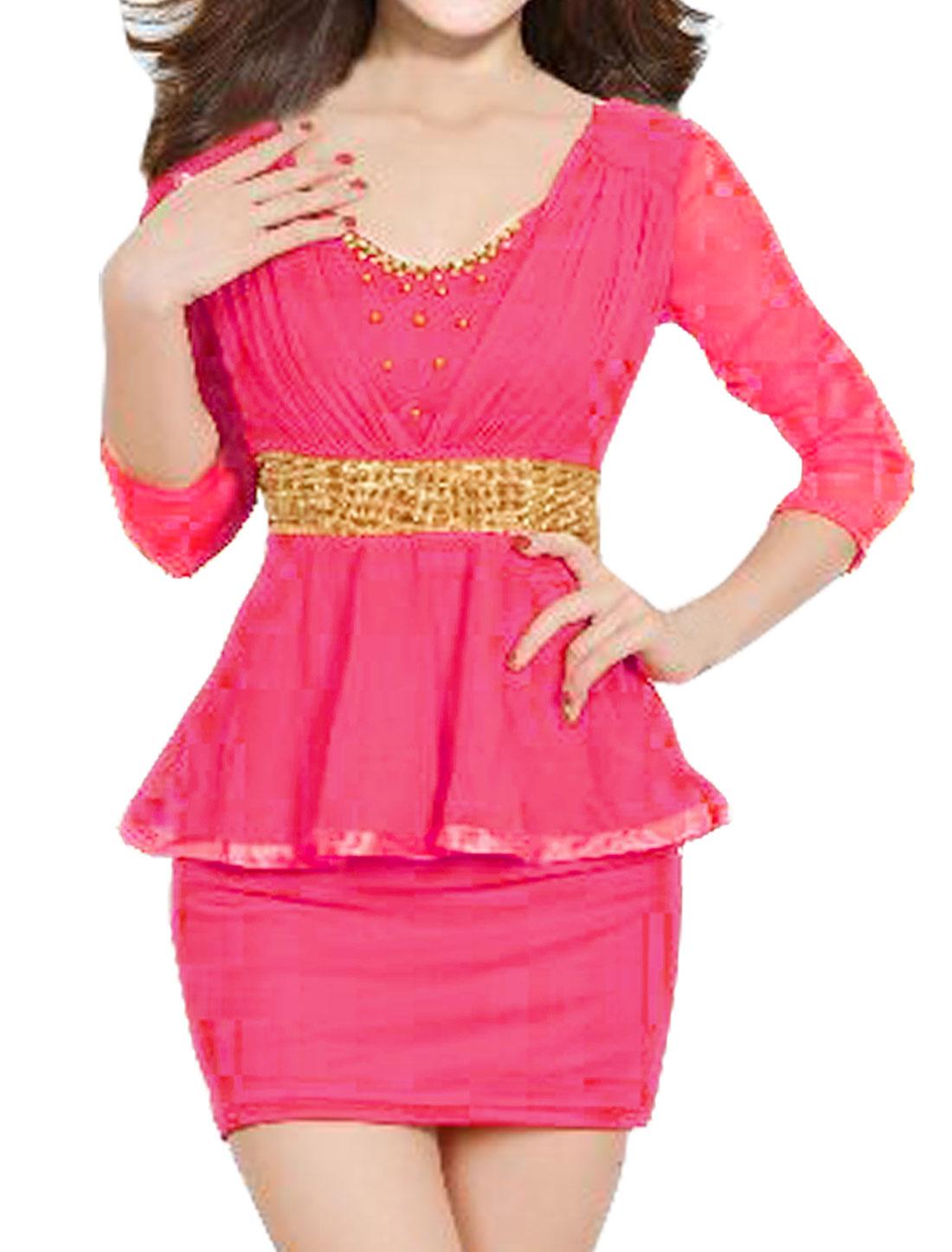 Women Beaded Rhinestone Decor Mesh Peplum Dress Fushcia M