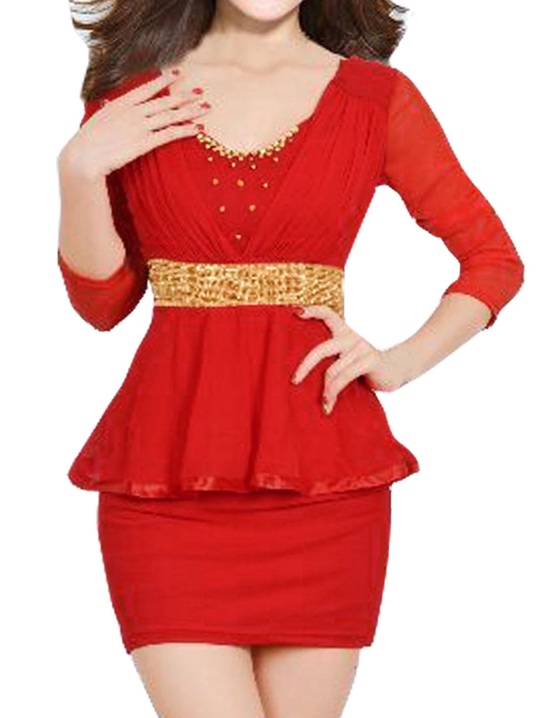 Women Beaded Rhinestone Decor Mesh Peplum Dress Red M