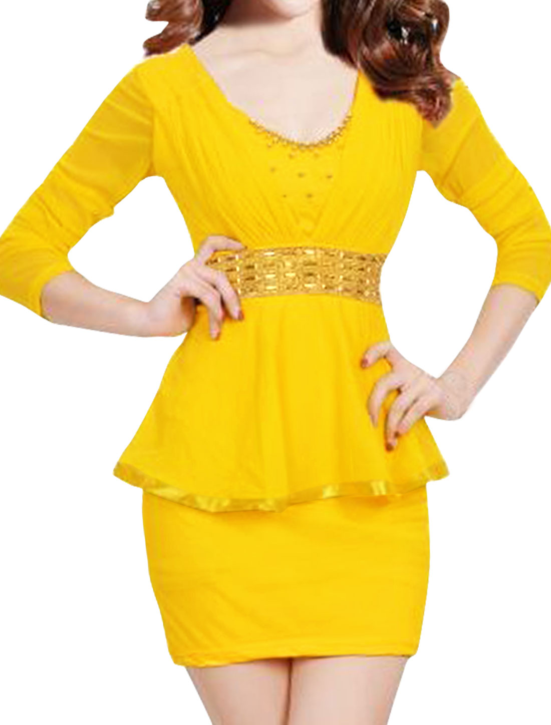 Women Beaded Rhinestone Decor Mesh Peplum Dress Yellow M