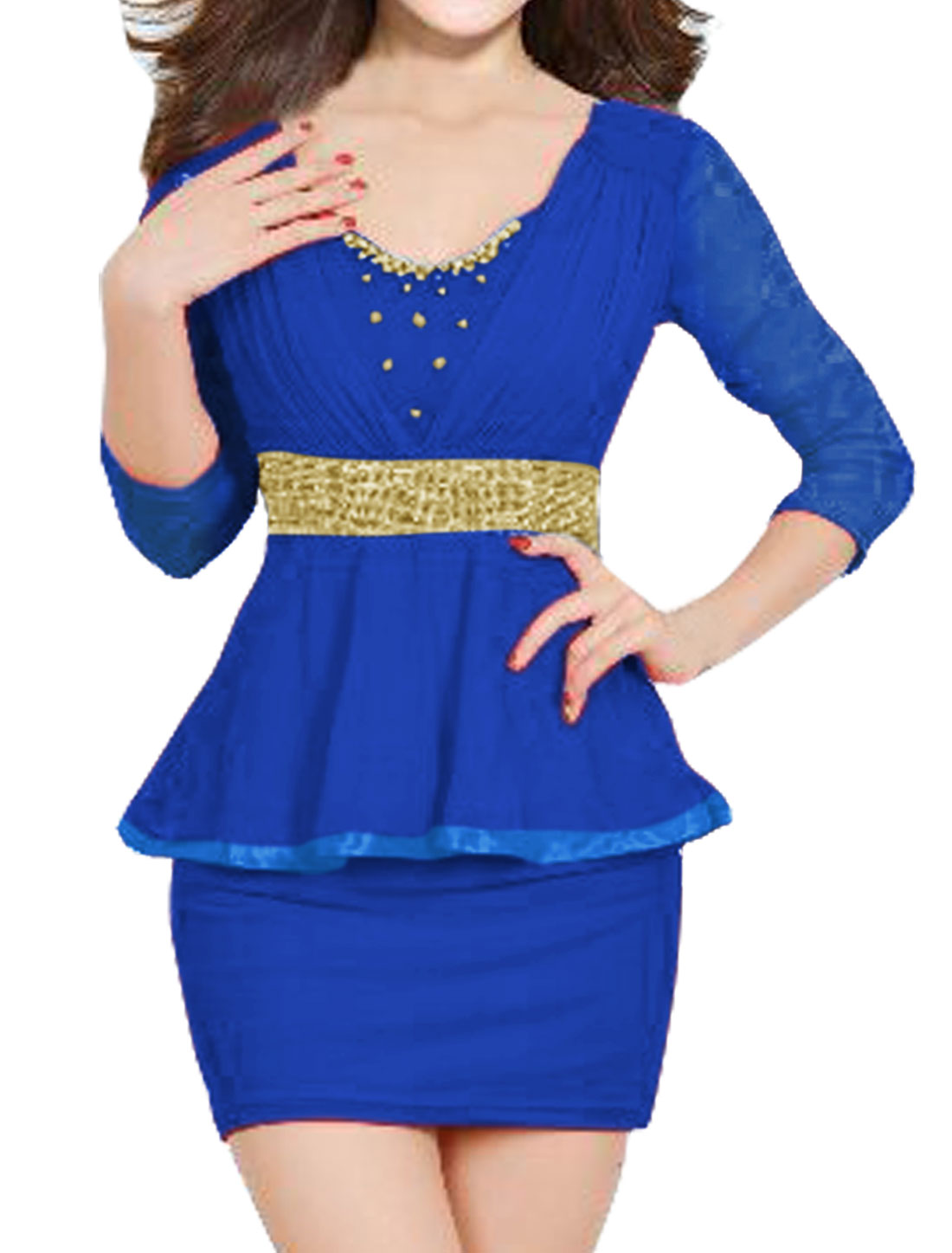 Women Beaded Rhinestone Decor Mesh Peplum Dress Blue M