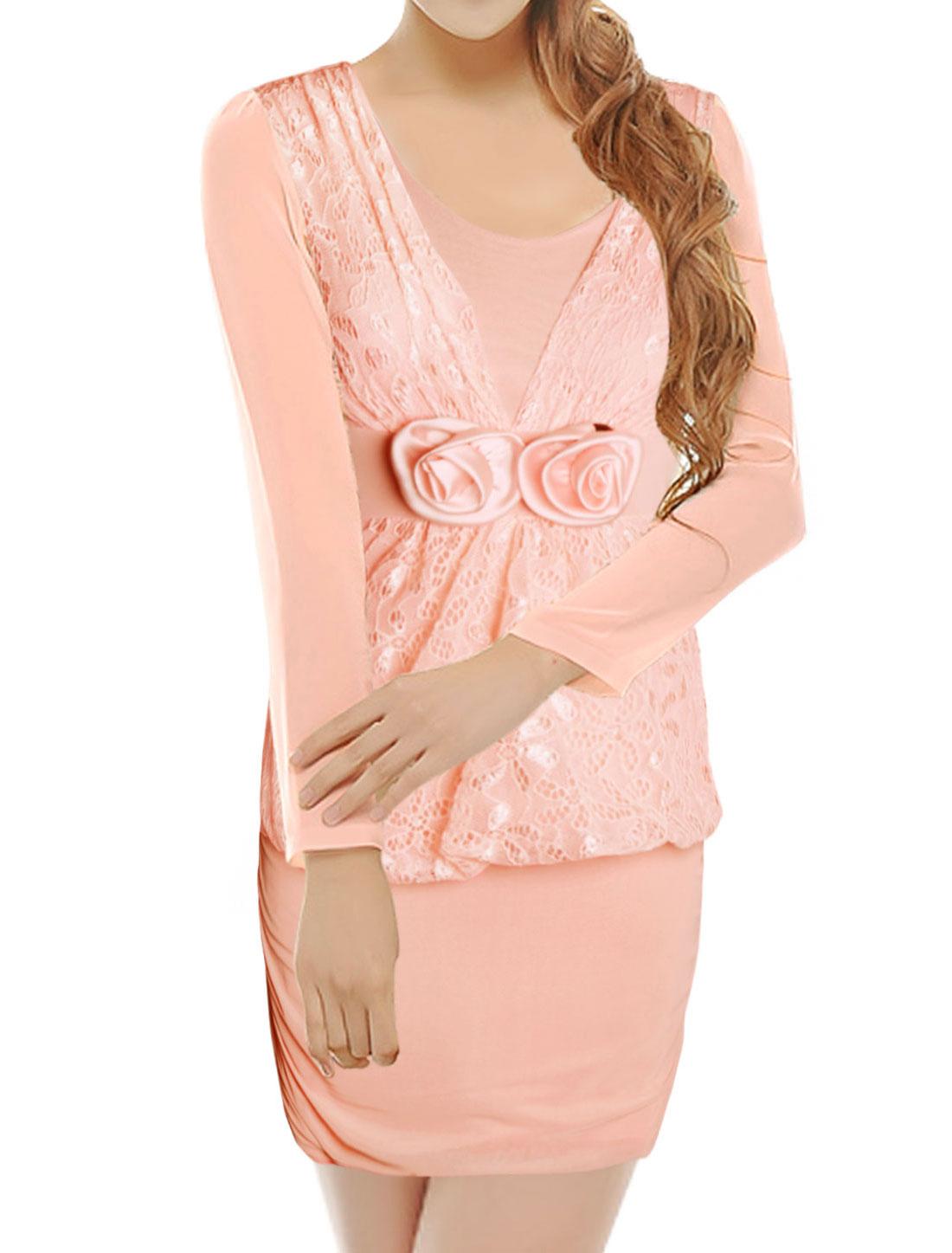 Woman Lace Panel Flowers Decor Mesh Bodycon Dress Pink XS