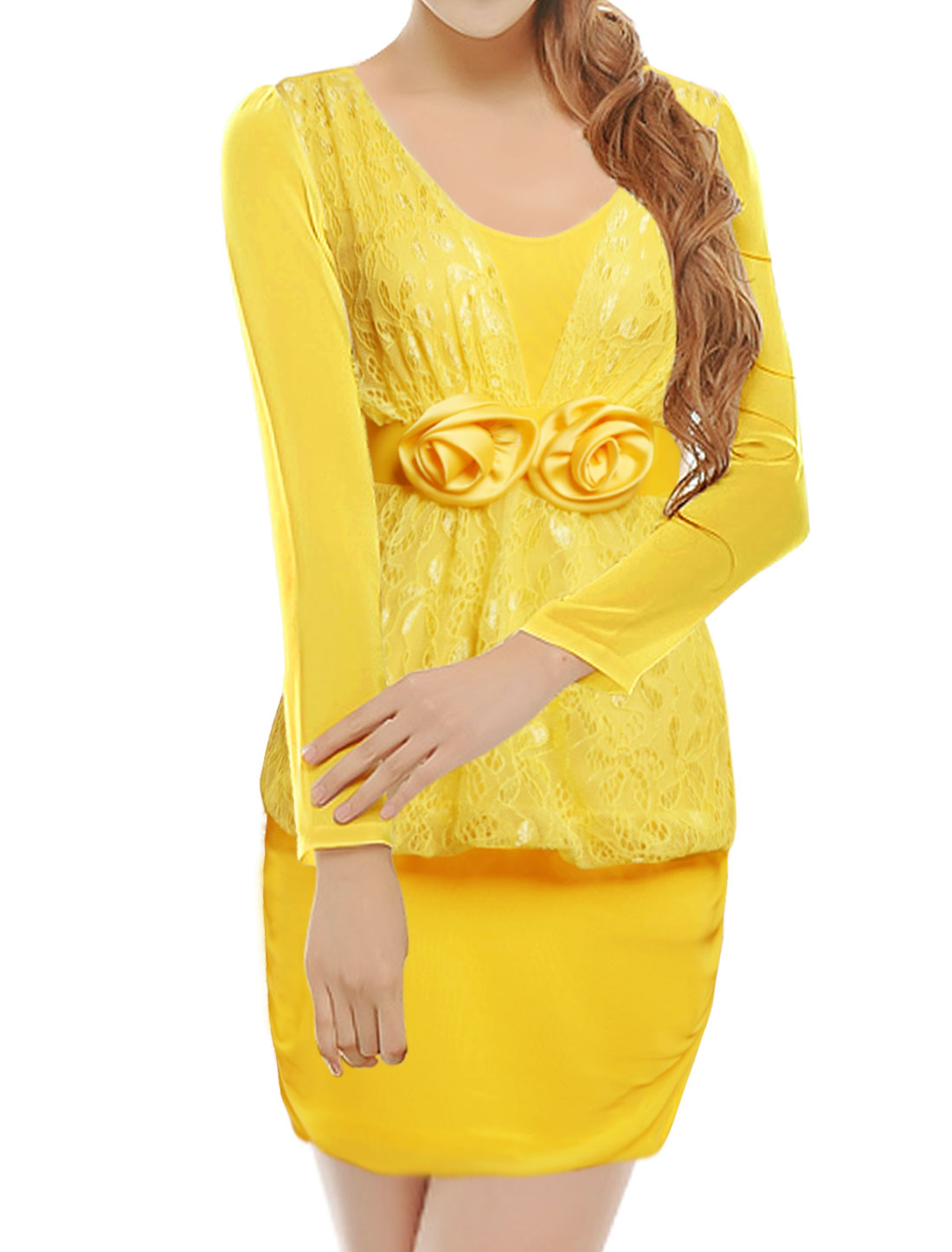 Woman Lace Panel Flowers Decor Mesh Bodycon Dress Yellow XS
