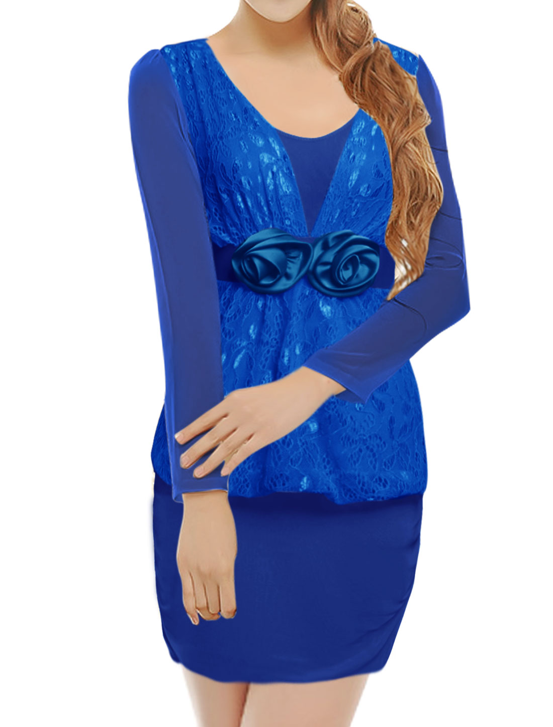 Woman Lace Panel Flowers Decor Mesh Bodycon Dress Blue XS