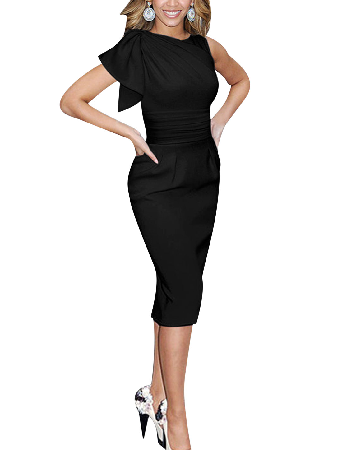 Ladies Asymmetric Sleeves Ruched Wiggle Dress Black L