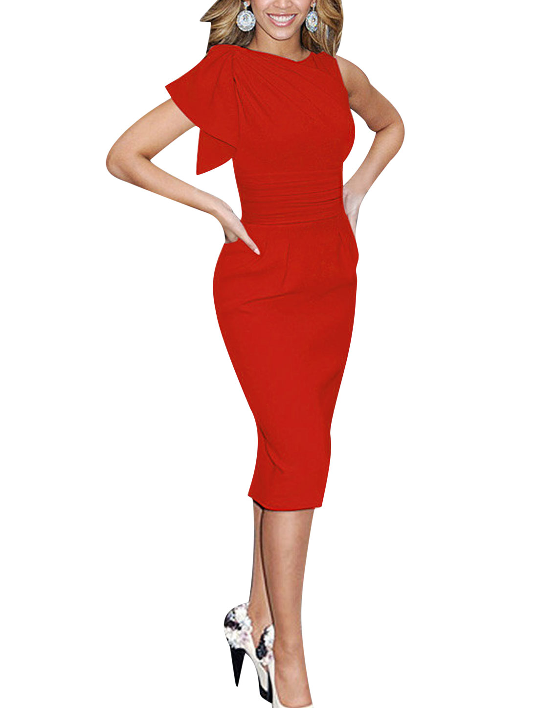Ladies Asymmetric Sleeves Ruched Wiggle Dress Red L