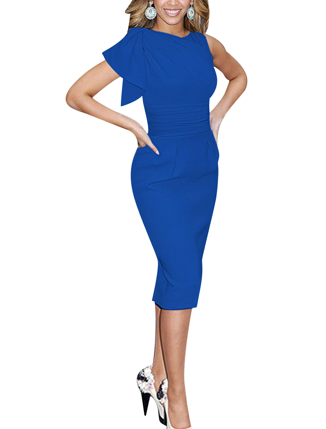 Ladies Asymmetric Sleeves Ruched Wiggle Dress Blue L