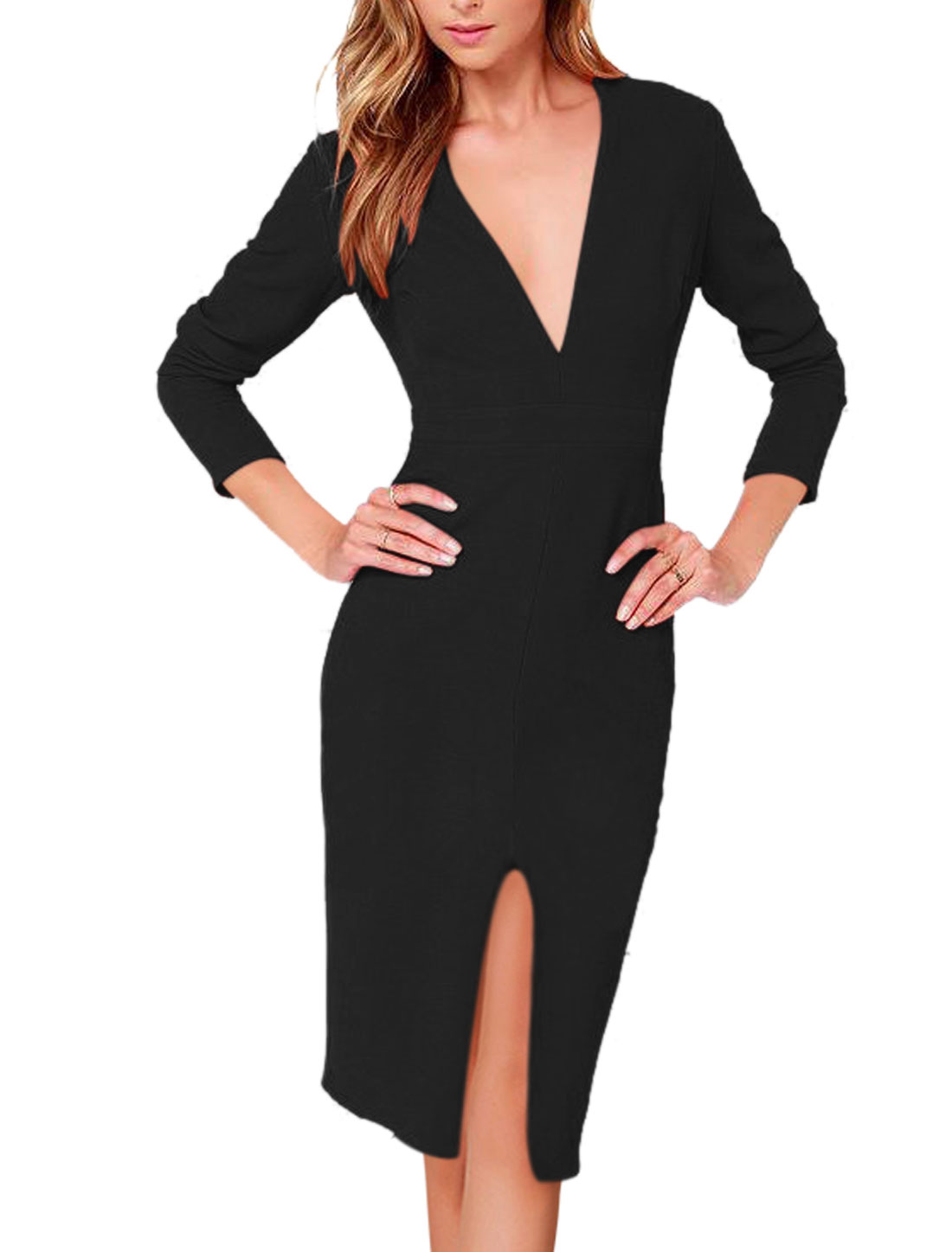 Woman Deep V Neck Long Sleeves Split Front Pencil Dress Black M