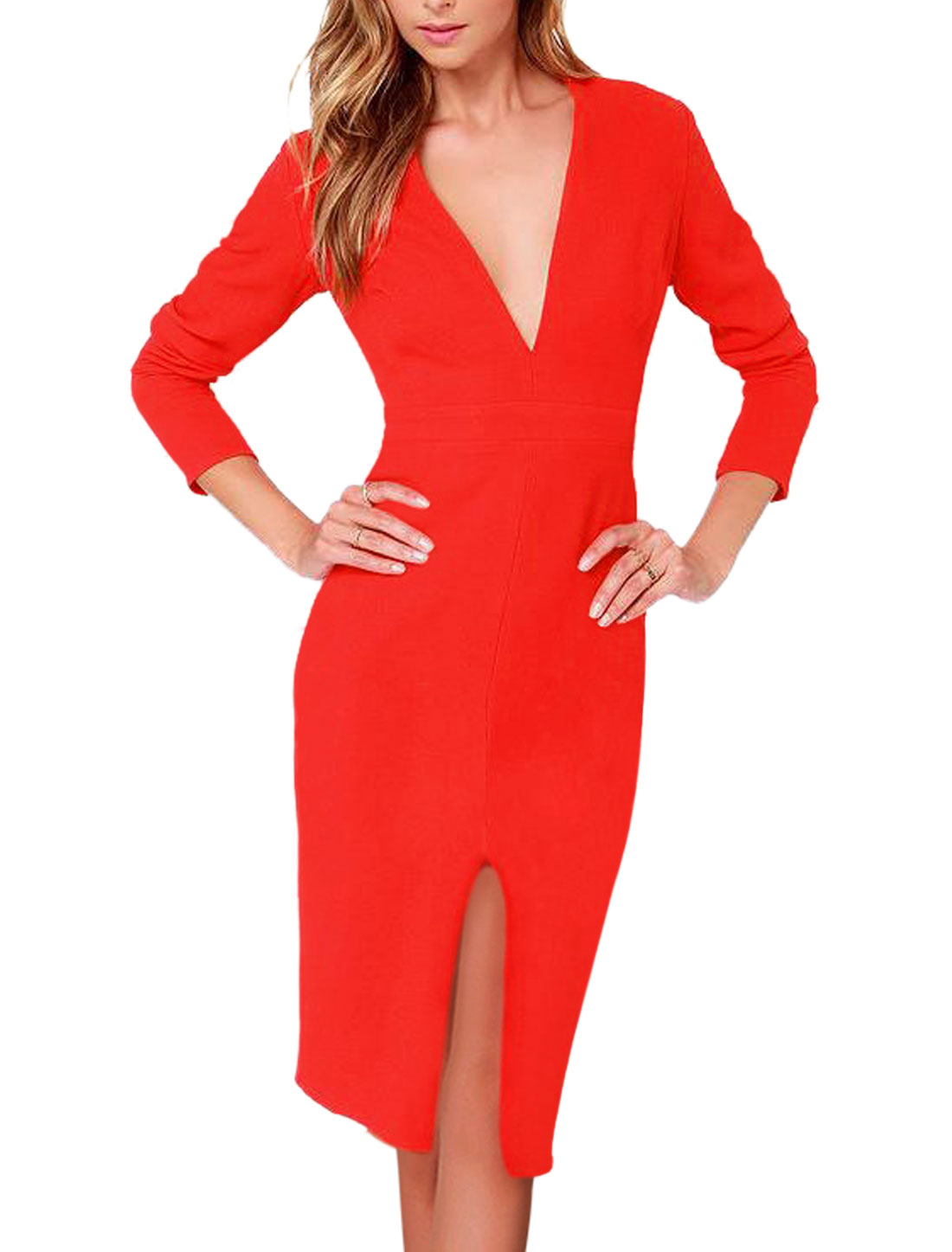 Woman Deep V Neck Long Sleeves Split Front Pencil Dress Red M