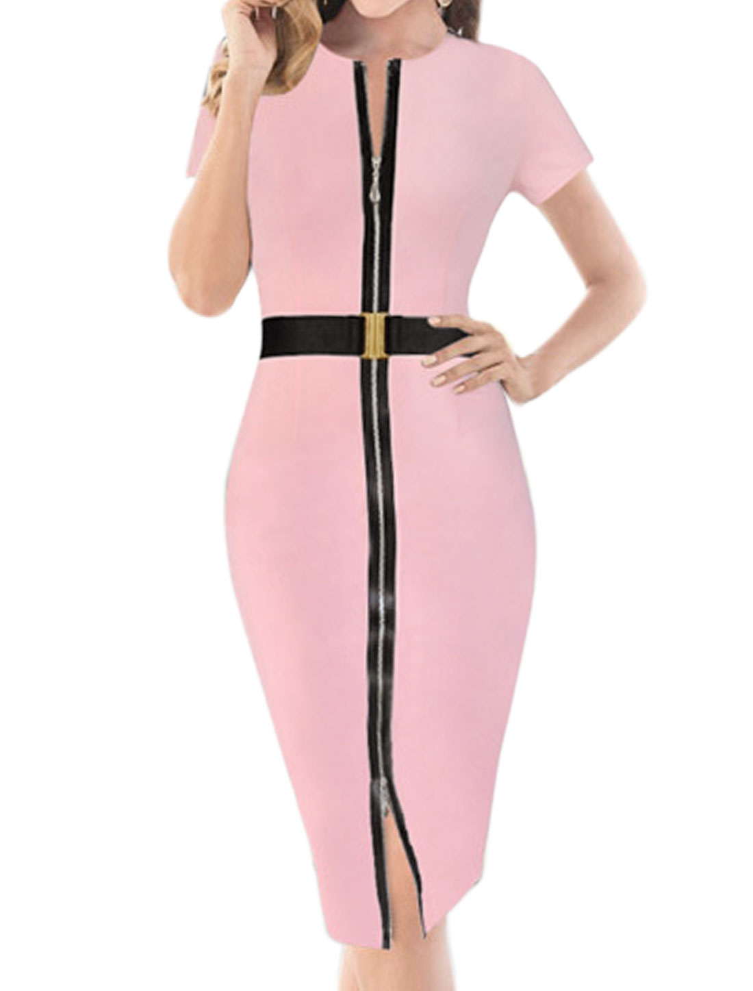 Woman Short Sleeves Zipper Front Pencil Dress w Belt Pink L