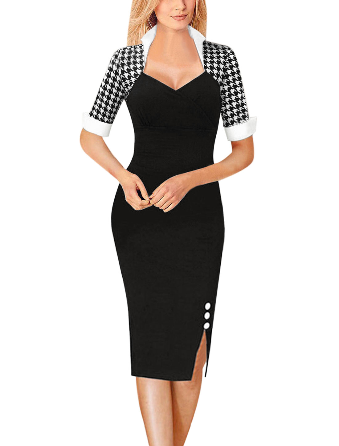 Women Stand Collar Houndstooth Bodycon Dress Black L