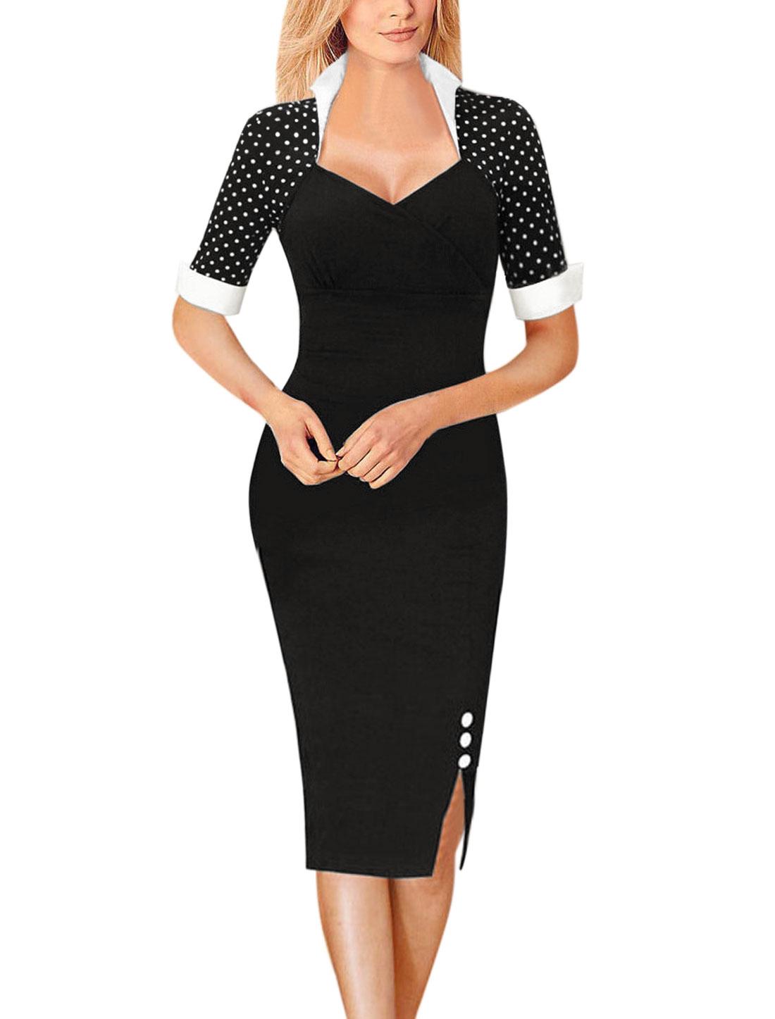 Women Stand Collar Polka Dots Bodycon Dress Black L