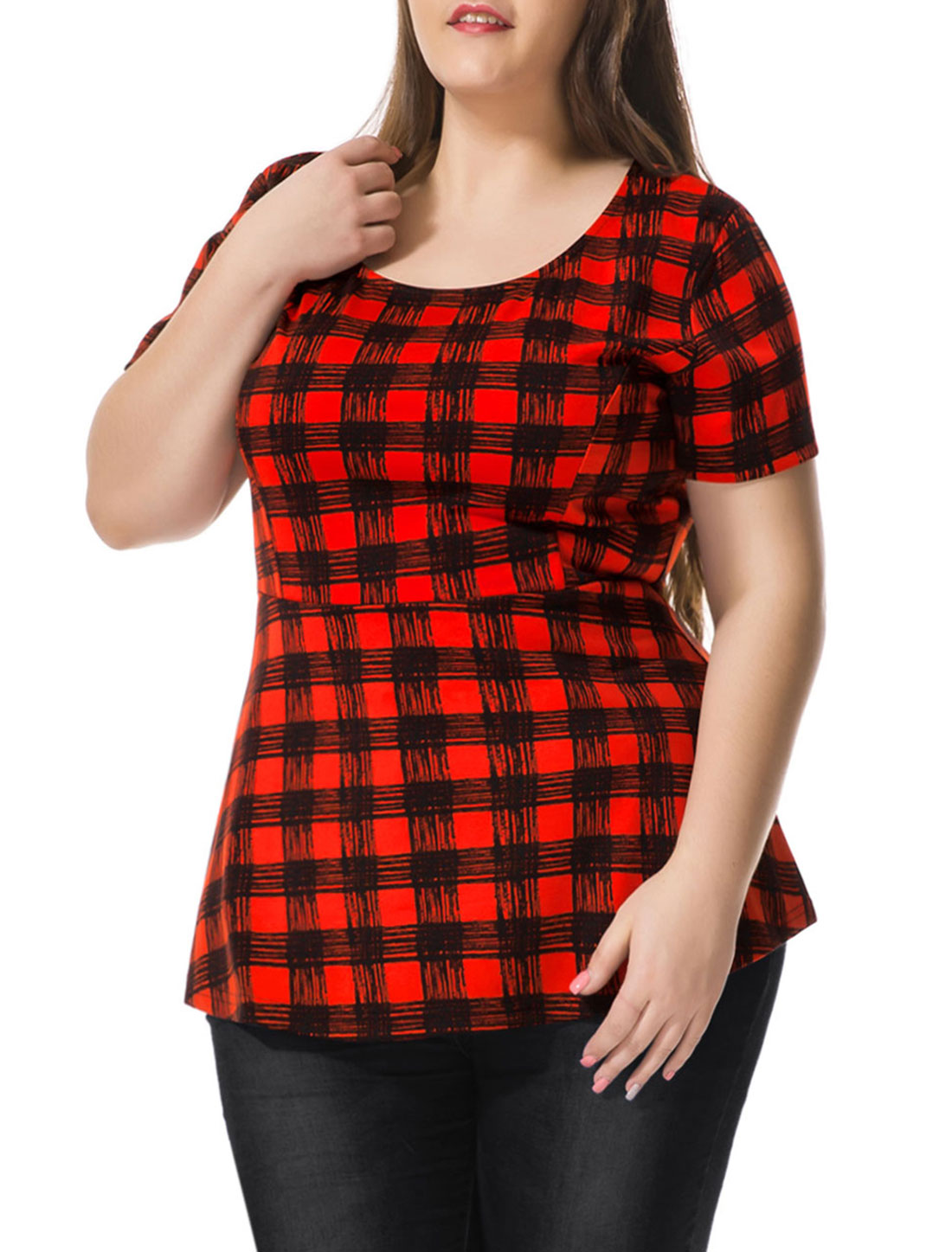 Women Plus Size Short Sleeves Checked Peplum Top Black Red 2X