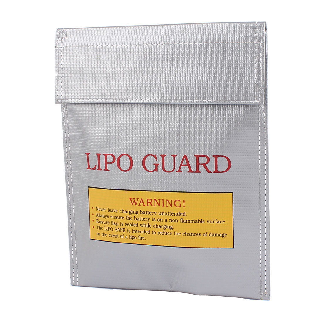 Lipo Battery Fireproof Explosionproof Bag Storage Guard Safe Charging Holder 18cm x 23cm Silver Tone