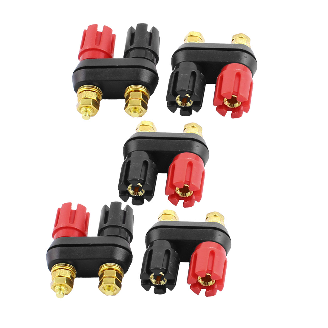 5pcs 5mm Thread Dual Jack Terminal Speaker Amplifier Binding Posts Black Red for 4mm Banana Plug