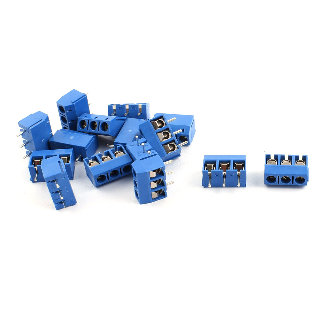 15pcs 300V 16A 3 Position 5.0mm Pitch Pluggable PCB Screw Terminal Block Cable Connector for AWG14-22 Wire