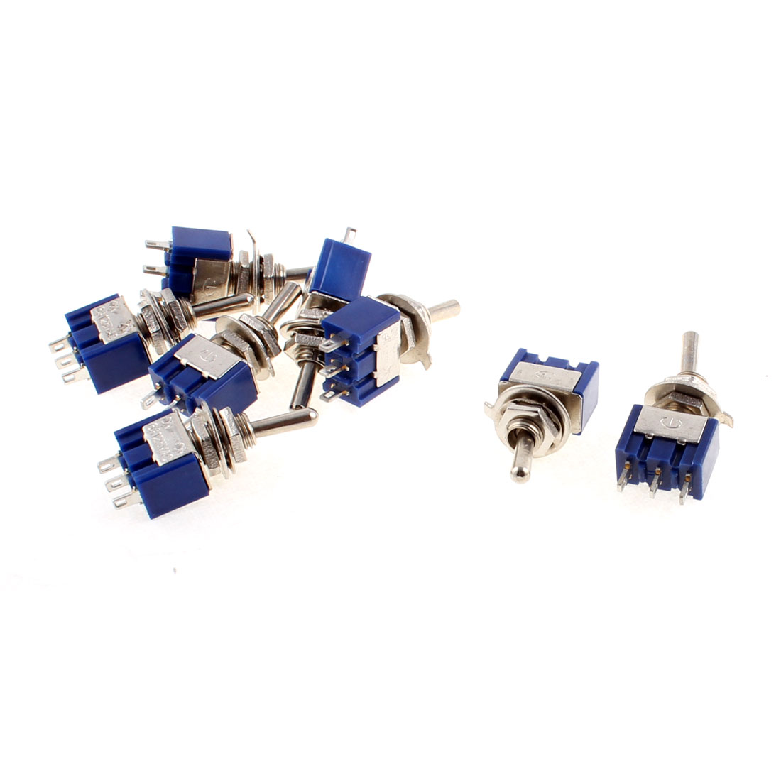 8pcs AC 125V 6A 2 Position ON/ON 3 Terminals M6 Thread Panel Mounting SPDT Latching Miniature Toggle Switch