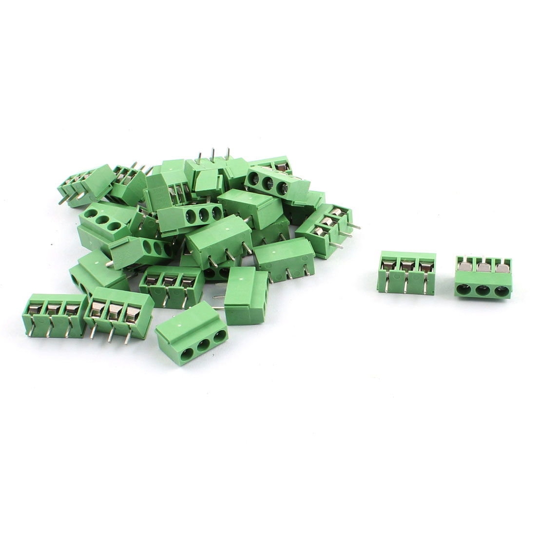 30pcs 300V 10A 3 Position 5.0mm Pitch Pluggable PCB Screw Terminal Block Cable Connector Green for AWG26-14 Wire
