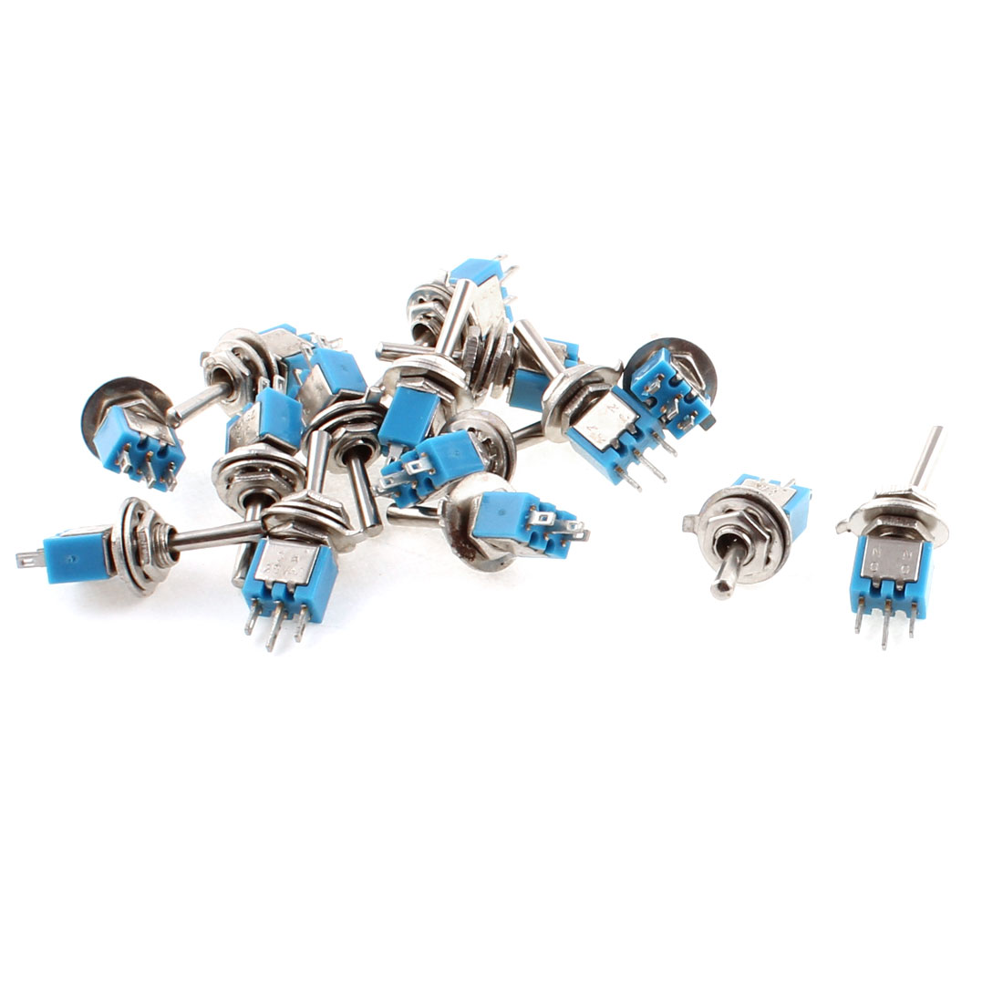 15pcs AC 250V 3A 2 Position ON/ON 3 Terminals 5mm Panel Mounting SPDT Latching Miniature Toggle Switch
