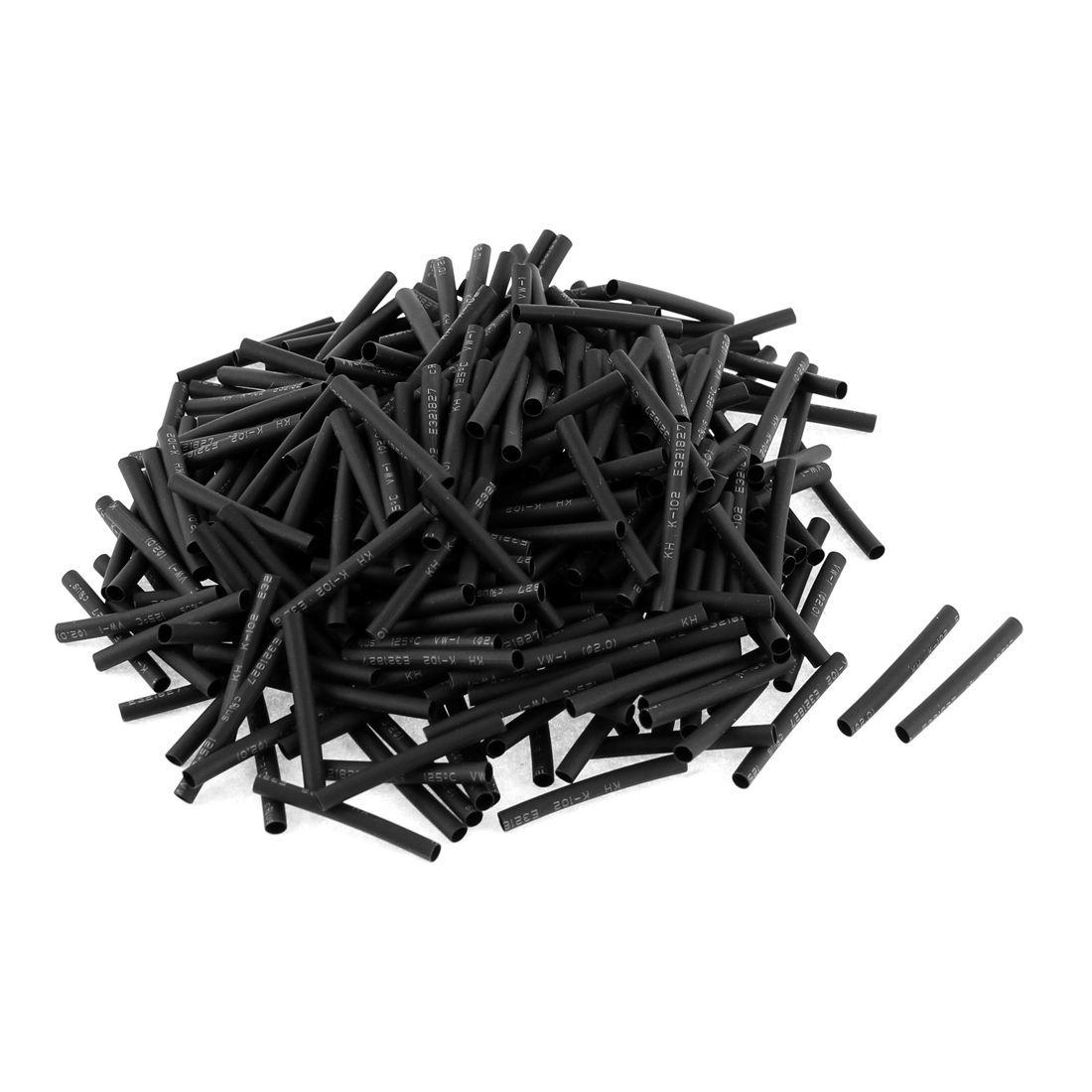 350pcs 3cm Length 2mm Dia 2:1 Black Polyolefin Heat Shrink Tubing Shrinkable Tube Sleeving Wrap