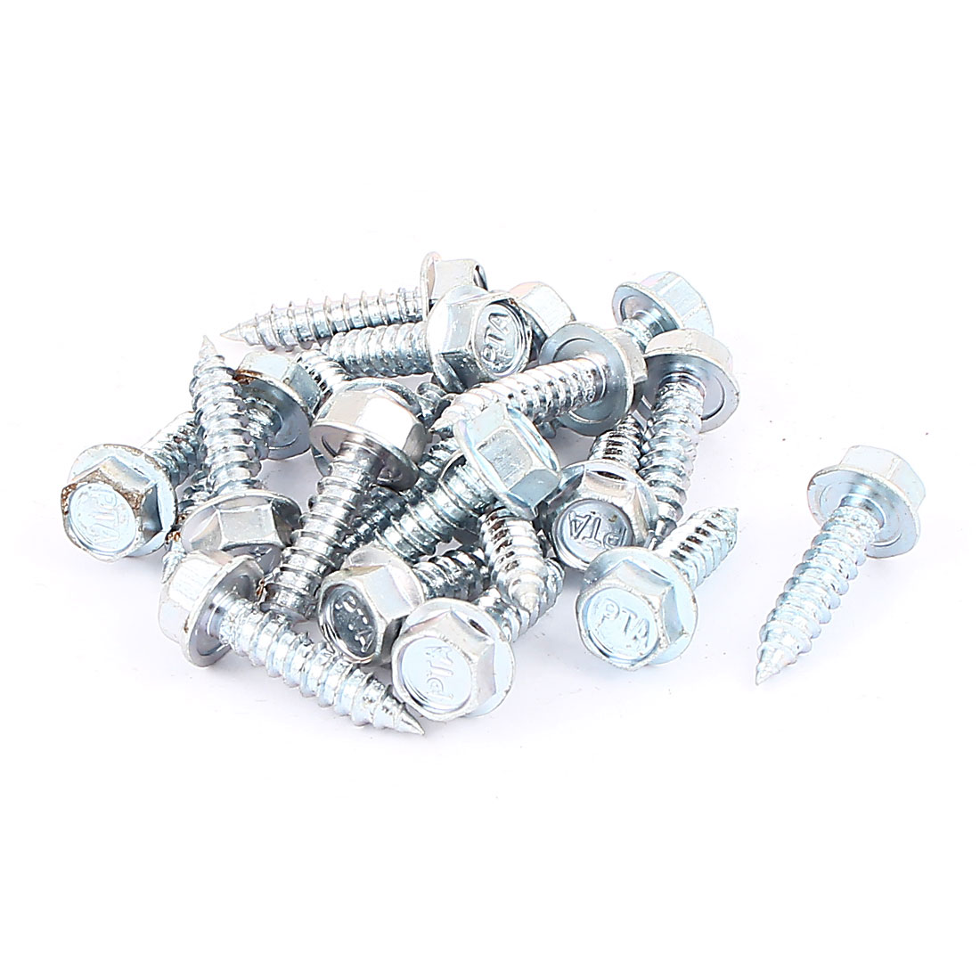 20pcs M6 x 25mm Threaded Silver Tone Metal Hex Head Self Tapping Drilling Screw Fastener