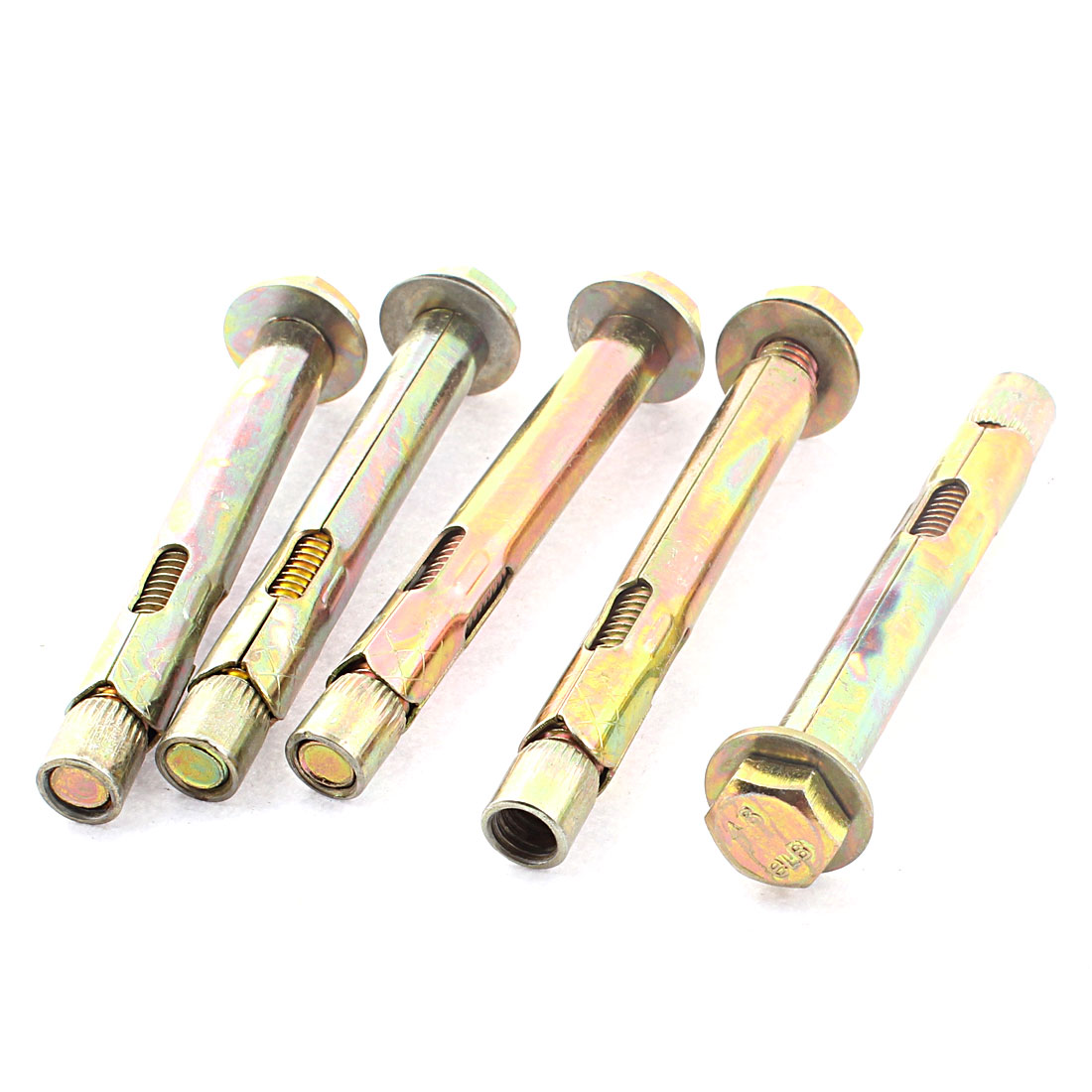 5Pcs M8 x 80mm Thread 87mm Long Hex Head Split Sleeve Expansion Bolts Anchors Screws Fasteners