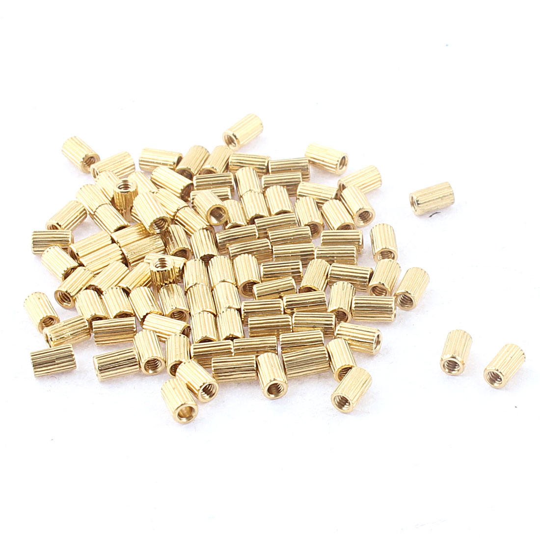 100Pcs M2 x 5mm Female Thread Cylindrical Knurled Brass Stand-off Standoff Spacer Pillar for Mother Board